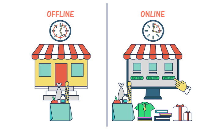 offline business vs online business